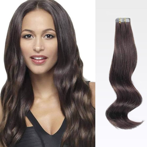 "14"" Dark Brown(#2) 20pcs Tape In Human Hair Extensions"