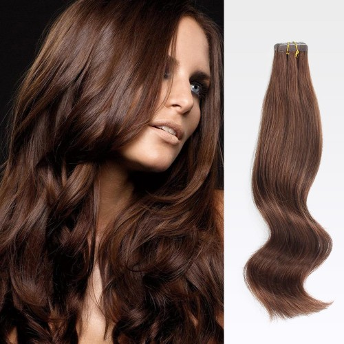 "16"" Medium Brown(#4) 20pcs Tape In Human Hair Extensions"