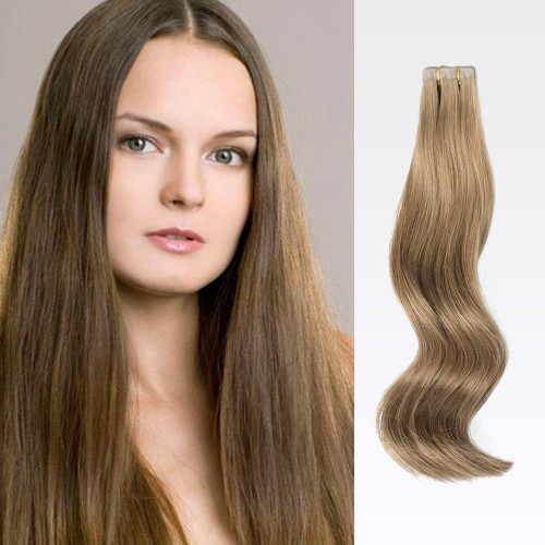 "18"" Ash Brown(#8) 20pcs Tape In Human Hair Extensions"