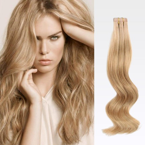 "18"" Golden Brown(#12) 20pcs Tape In Human Hair Extensions"