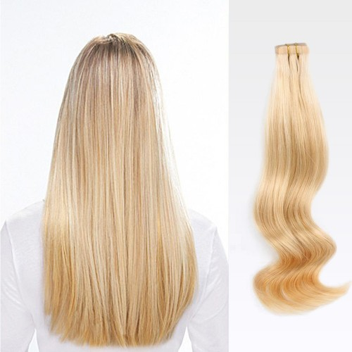 "18"" Golden Blonde(#16) 20pcs Tape In Human Hair Extensions"