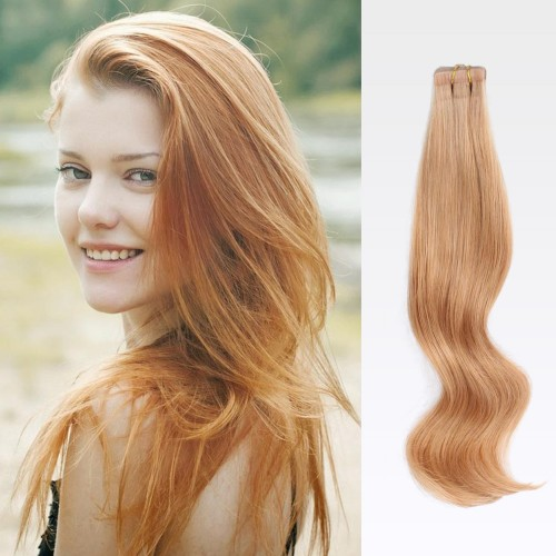 "14"" Strawberry Blonde(#27) 20pcs Tape In Human Hair Extensions"