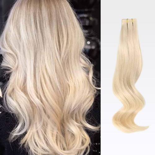 "26"" White Blonde(#60) 20pcs Tape In Human Hair Extensions"