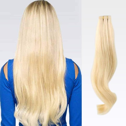 "26"" Bleach Blonde(#613) 20pcs Tape In Human Hair Extensions"