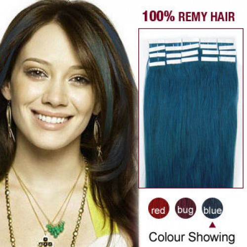 "20"" Blue 20pcs Tape In Human Hair Extensions"
