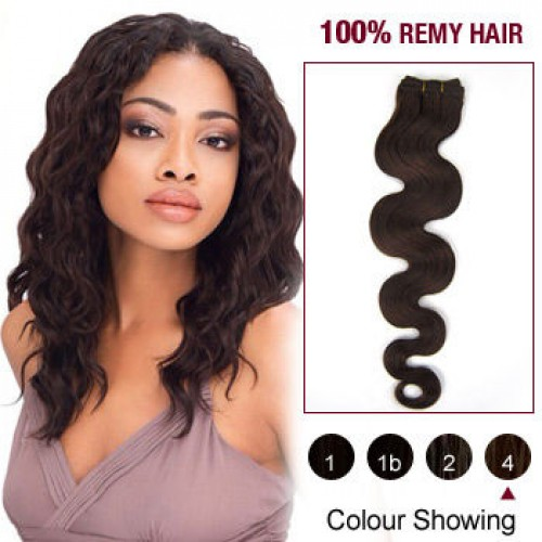 """10"""" Medium Brown(#4) Body Wave Indian Remy Hair Wefts"""