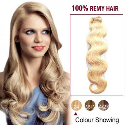 """12"""" Ash Blonde(#24) Body Wave Indian Remy Hair Wefts"""