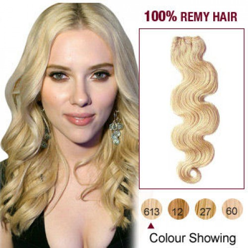 """16"""" Bleach Blonde(#613) Body Wave Indian Remy Hair Wefts"""