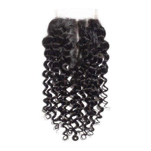 16 Inches Deep Curly Natural Black Free Parted Indian Remy Lace Closure